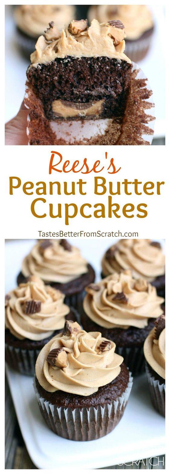 REESE'S PEANUT BUTTER CUPCAKES #cake #dessert
