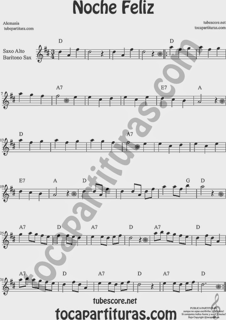Noche Feliz Partitura de Trompa y Corno Francés en Mi bemol Sheet Music for French Horn Music Scores