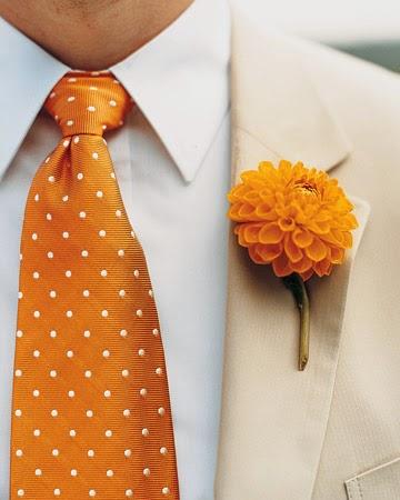 orange wedding boutonniere