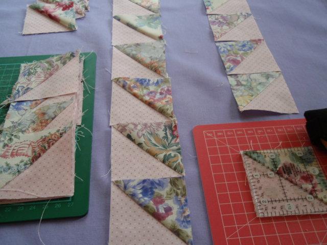 Trimming half-triangle blocks