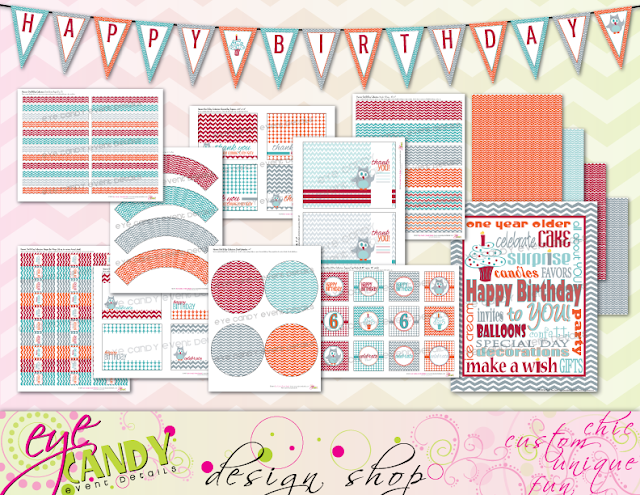 harvest owl birthday collection, birthday printables, chevron, owl party