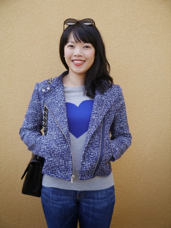 Blue tweed moto jacket and blue heart intarsia sweater