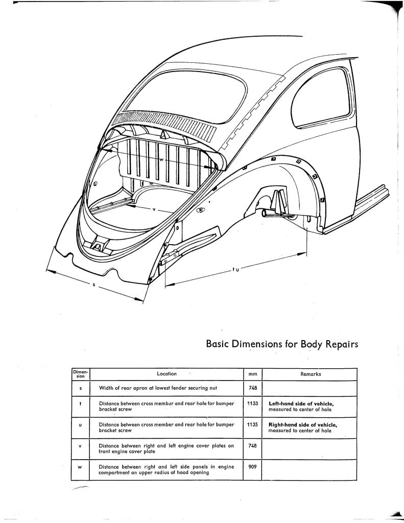 medium resolution of below are the spec sheets for a standard 73 beetle used as reference in replacing the front quarter panel apron front and rear etc from the samba com
