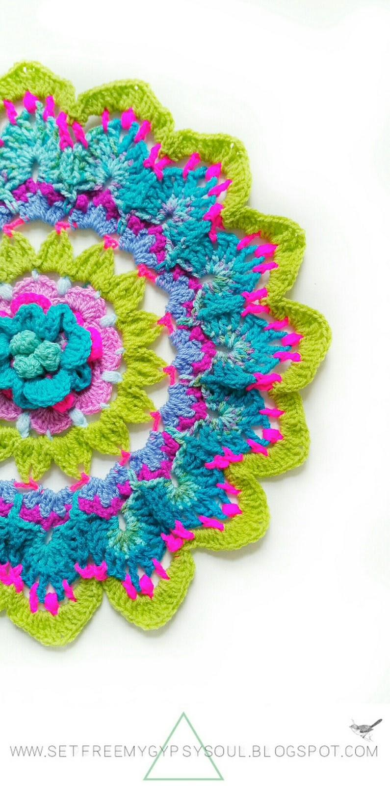 flower mandala crochet pattern free boho bohmeian hippie doily color yarn