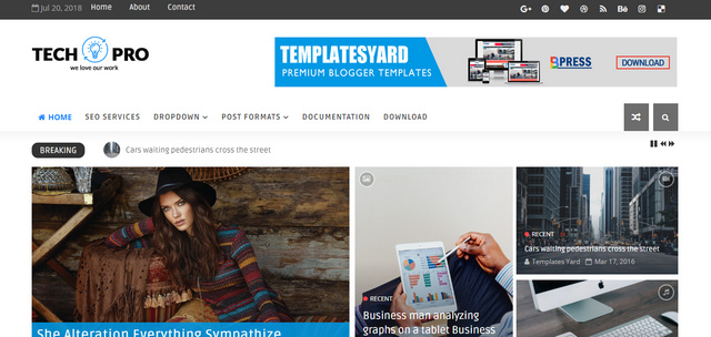 Tech Pro Magazine Responsive Blogger Templates