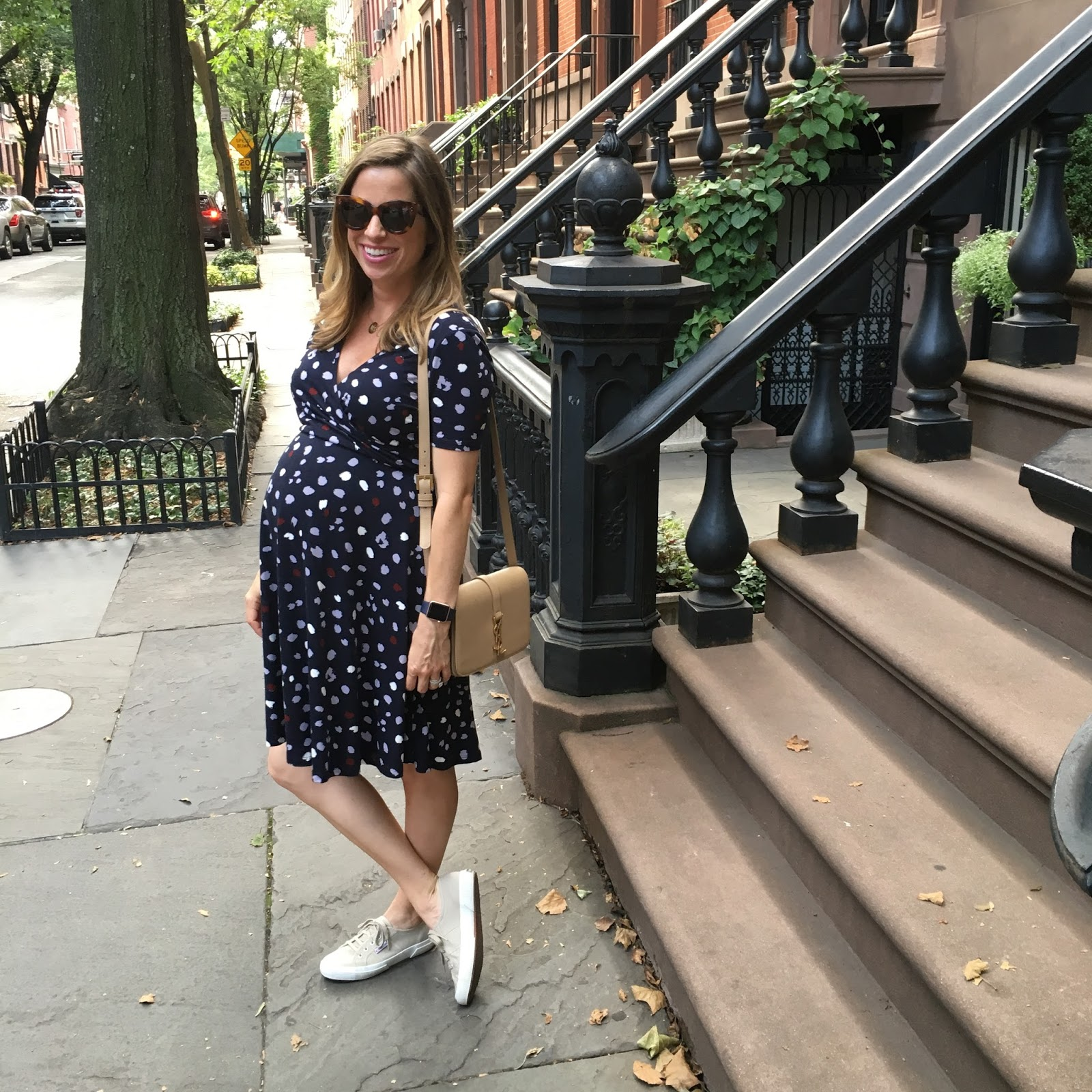 dress and tennis shoes street style