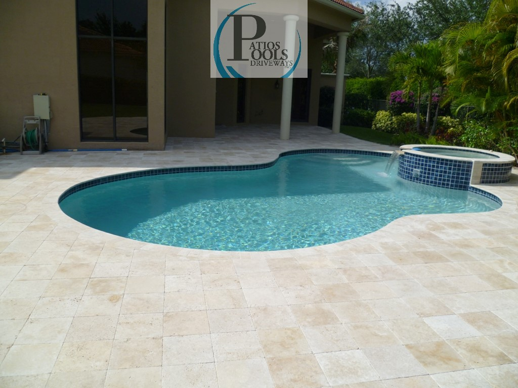 Travertine pavers alluring product for palm beach for Pool redesign