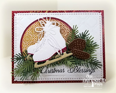 Our Daily Bread Designs Stamp Set: Card Greetings, Paper Collection: Christmas 2015, Christmas Coordinating 2015, Custom Dies:  Ice Skate, Pine Branches, Pinecones, Pierced Circles, Circles, Snowflake Sky, Scalloped Chain