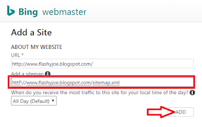 Screenshot: add your sitemap url