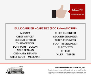 Jobs hiring Filipino seaman crew deployment November - December 2018