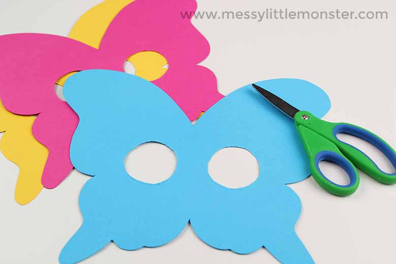 Butterfly Mask Craft for toddlers with Free Printable Butterfly Template