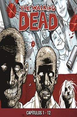 Portada del audilibro The Walking Dead, donde aparecen en con dibujos tipo cómics una foto de la familia de Rick y zombies debajo.