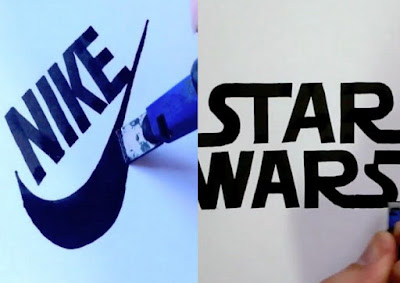 He was able to perfectly wrote Nike and Star Wards logos