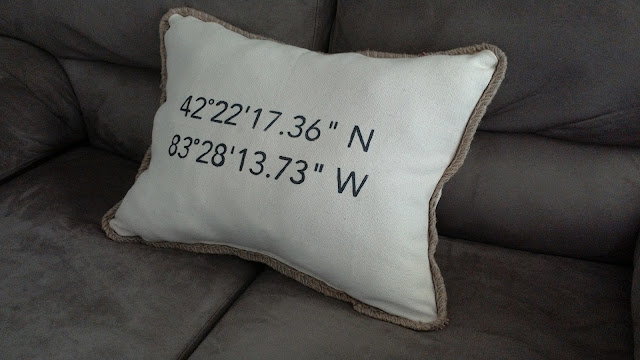 Latitude and longitude pillow DIY