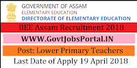 Government of Assam Directorate of Elementary Education Recruitment 2018-1158 Lower Primary Teachers