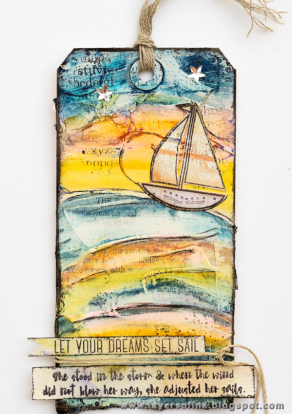 Layers of ink - A little ship tag by Anna-Karin, watercolour on gesso