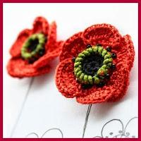 Pendientes amapola a crochet