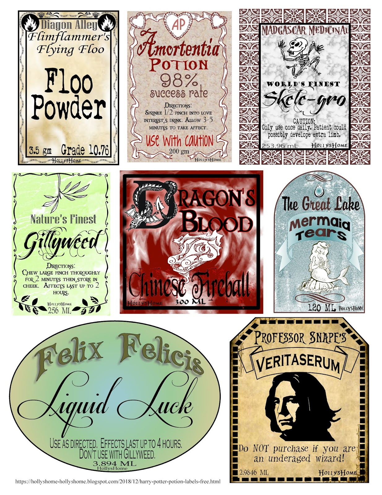 image about Colored Printable Labels referred to as HollysHome Family members Daily life: Harry Potter Potion Labels Absolutely free