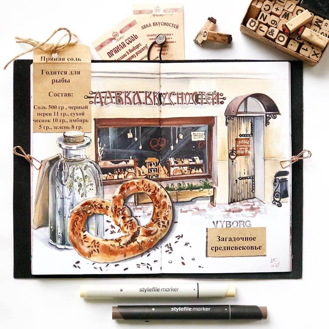 03-Pretzel-Shop-Irina-Shelmenko-Ирина-Шельменко-Travel-Diary-Sketches-and-Moleskine-Drawings-www-designstack-co