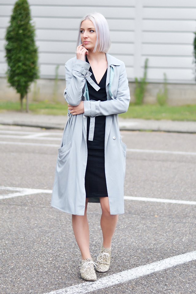 Street style outift, ootd, asos, grey, trench coat, black dress, mesh skirt, maruti footwear,  pony hair, minimal outfit, summer trends, 2015
