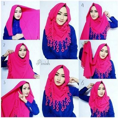 gambar tutorial hijab pashmina modern dan keren untuk