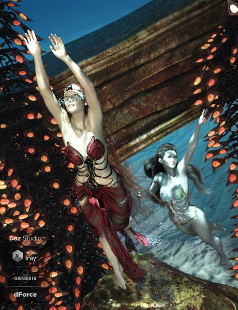 dForce Aguja Mermaid Dress for Genesis 8 Female