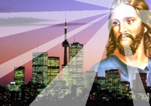 Jesus iluminando a cidade.