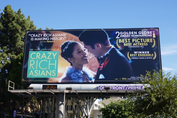 Crazy Rich Asians Golden Globe nominee billboard