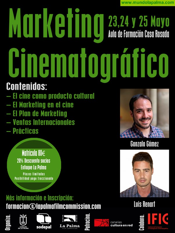 La Palma Film Commission oferta un curso de marketing cinematográfico para la venta de productos audiovisuales