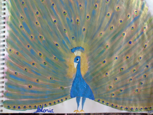 Peacock sketch in acrylics on paper, created by Gloria poole in Missouri