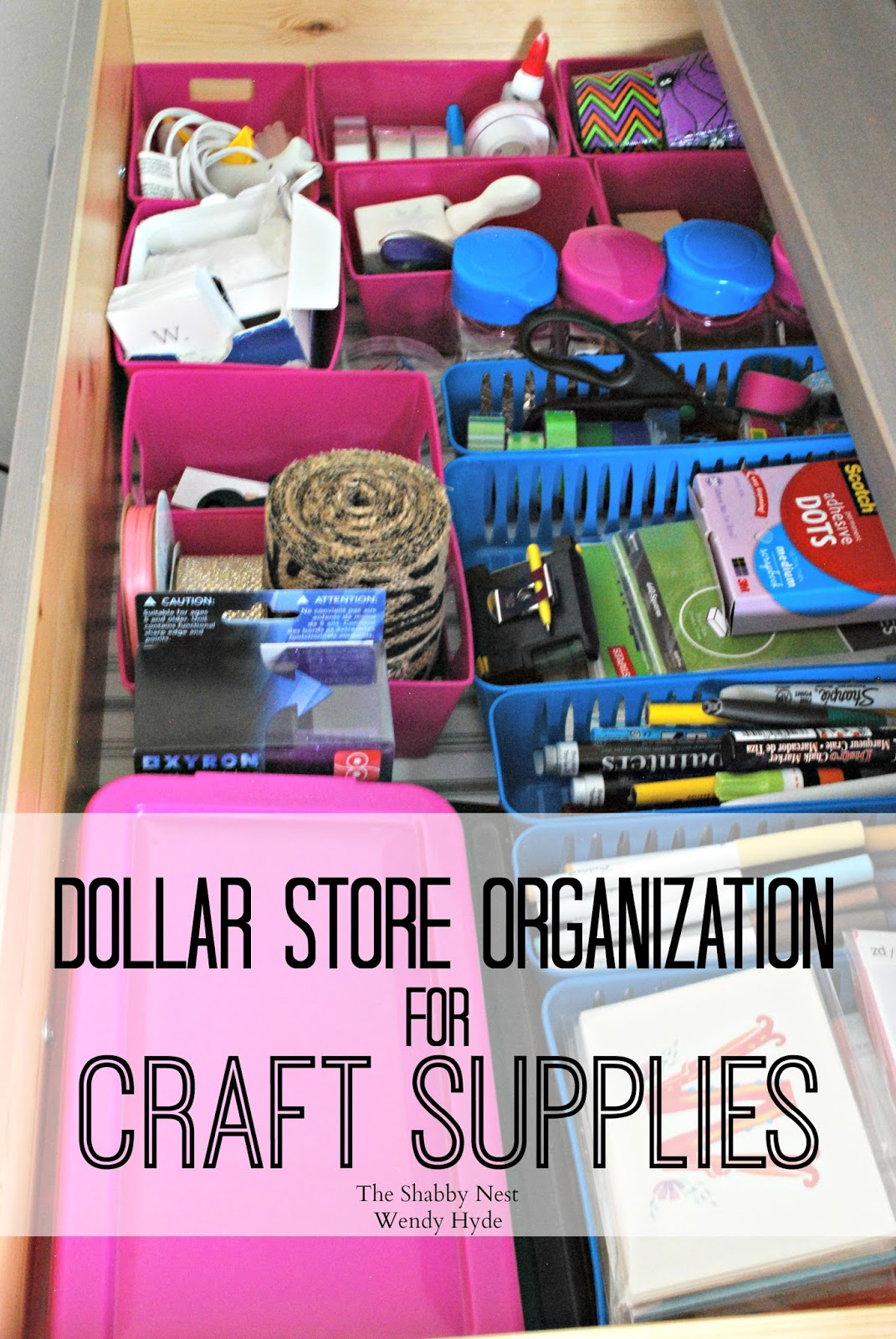 dollar store organization for craft supplies wendy hyde lifestyle. Black Bedroom Furniture Sets. Home Design Ideas