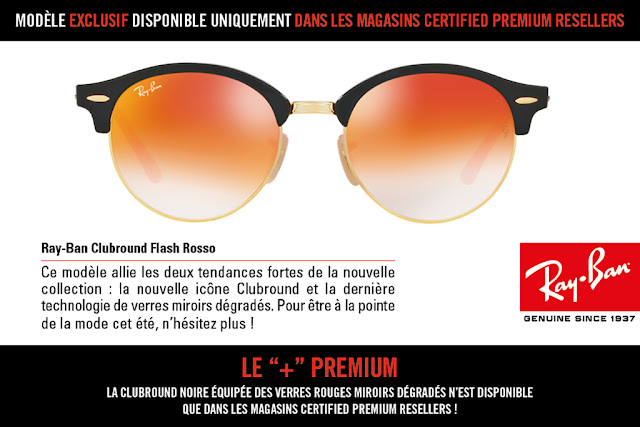 Ray Ban x Optissimo : le Clubround Flash Rosso