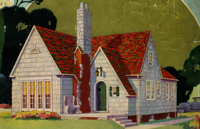 colorful close up of pale grey Sears Mitchell with green door and roof of shades of reds and green