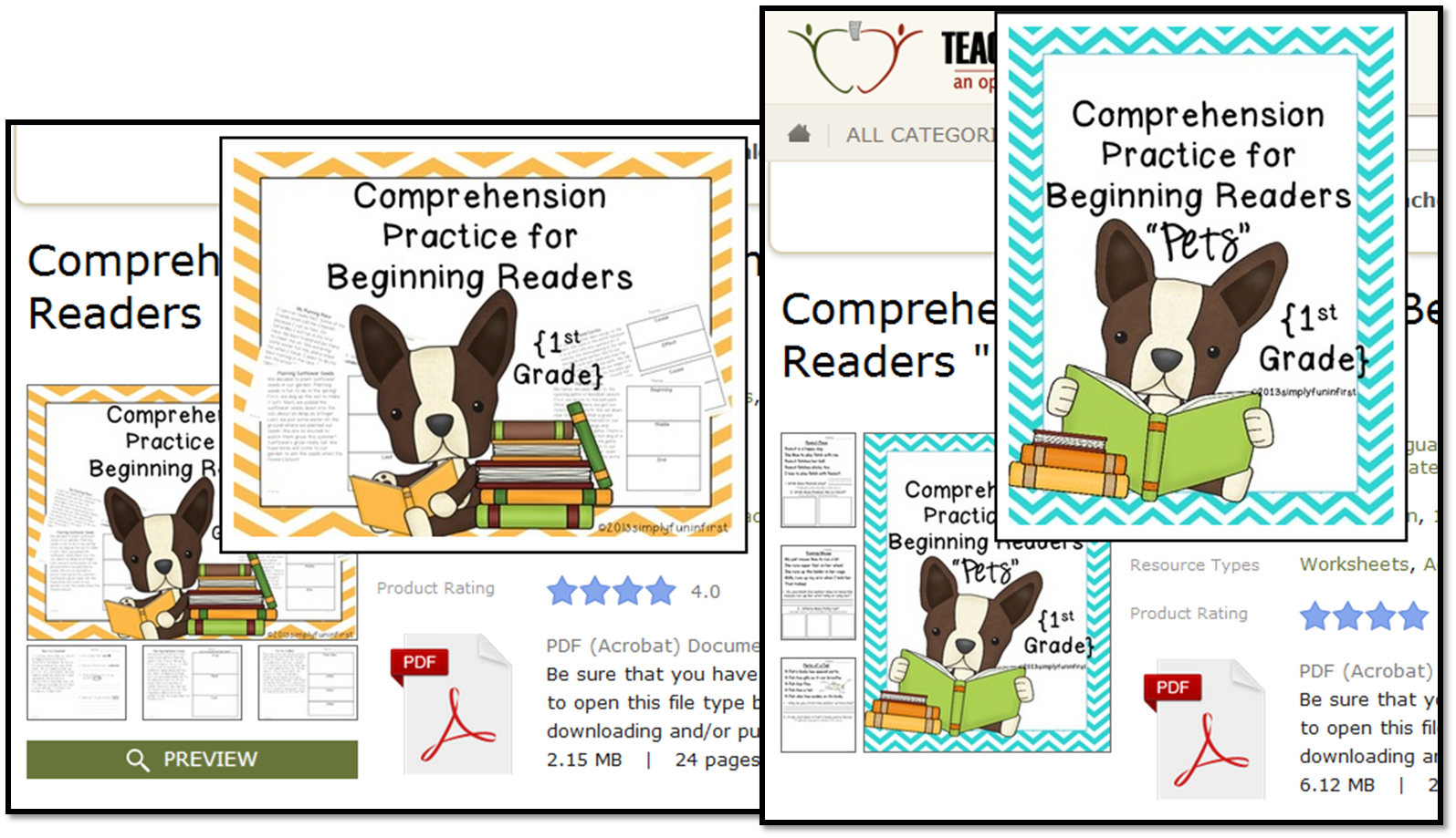 http://www.teacherspayteachers.com/Product/Comprehension-Practice-for-Beginning-Readers-1st-Grade-590694