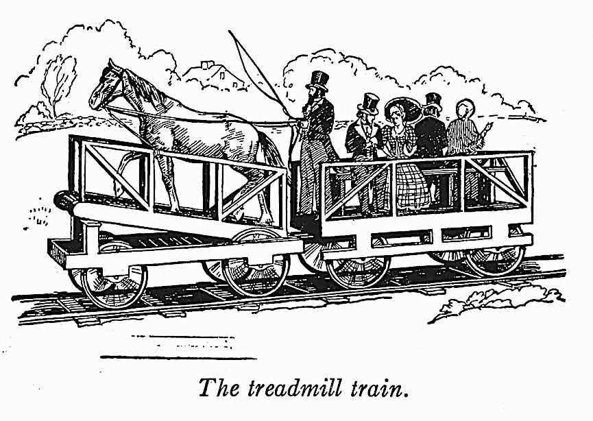 the treadmill train, an 1800s illustration of a horse-powered rail passenger coach