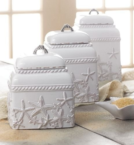 Piece Kitchen Canisters White