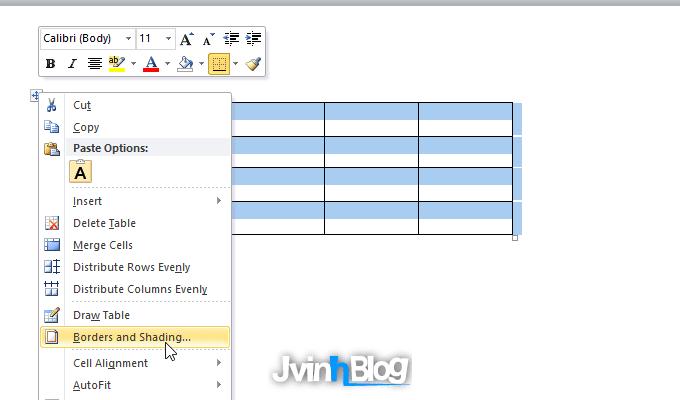 Cách tạo đường viền cho bảng trong Word 2007, 2010, 2013, 2016