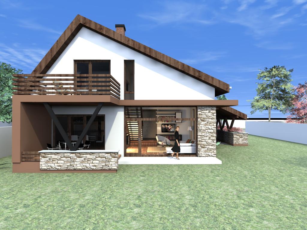 Arhiconstruct proiect casa cu mansarda casa nb 50 for Proiecte case cu garaj si mansarda