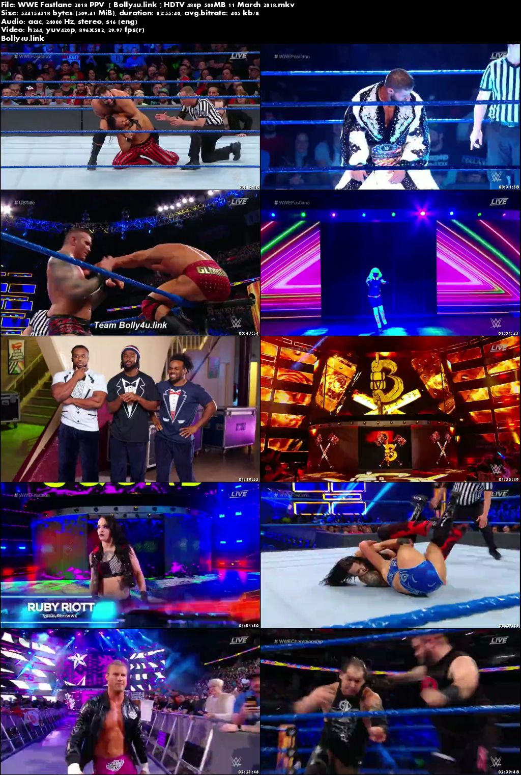 WWE Fastlane 2018 PPV HDTV 480p 500MB 11 March 2018 Download