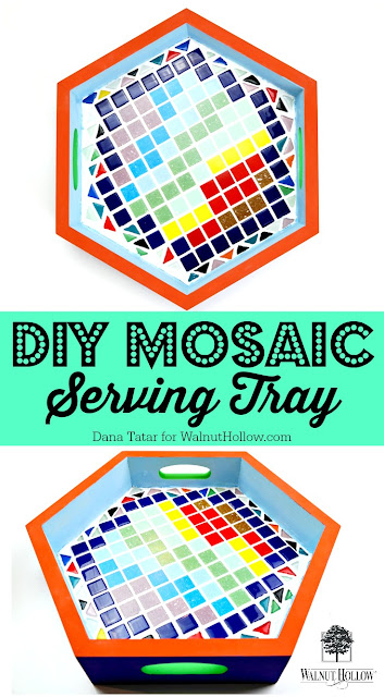 DIY Mosaic Serving Tray by Dana Tatar for Walnut Hollow