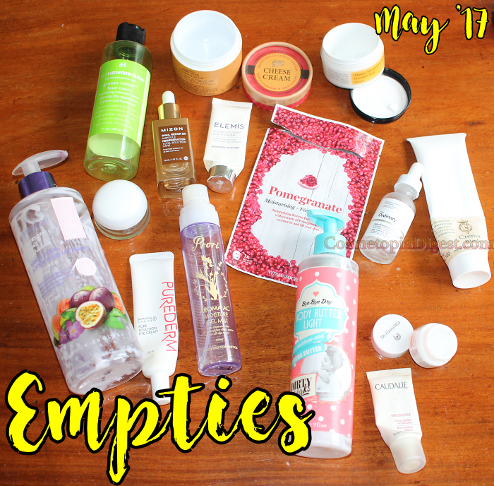 Here are the beauty products I emptied in May 2017.