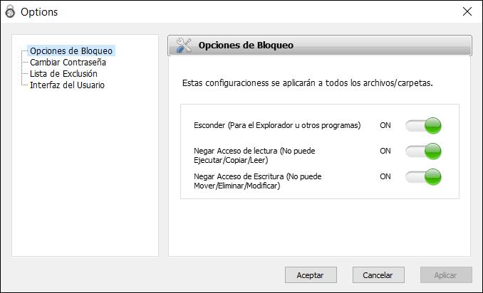 Opciones de Bloqueo Protected Folder