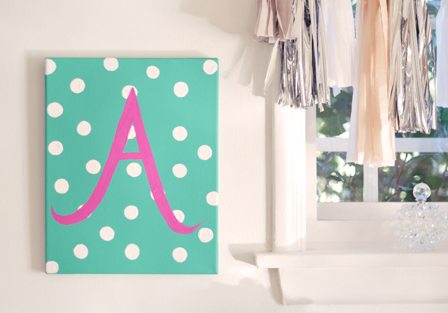 DIY Gifting Custom Painted Initial Canvas For Baby