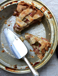 Mom's rhubarb pie, sweet, tart and almost creamy