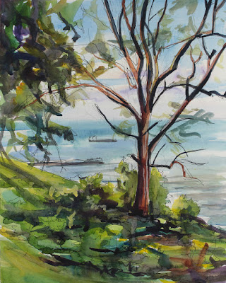 A watercolor painting of Lake Ontario as seen from Krull Park