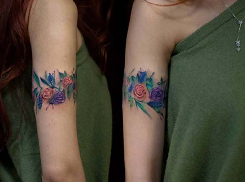 armband tattoo watercolor flowers renkli çiçekli kol bandı dövmesi