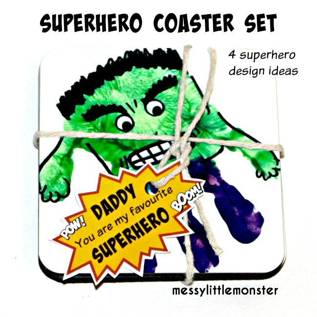 Superhero handprint coaster set