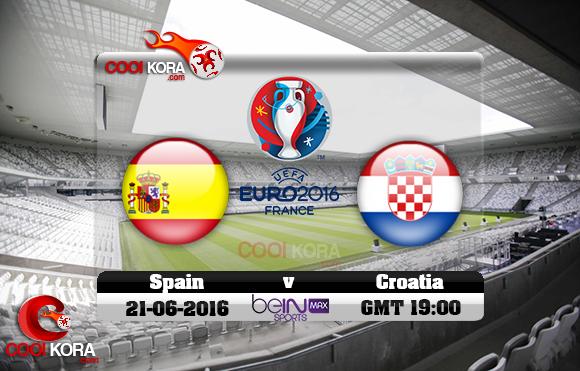 مشاهدة مباراة إسبانيا وكرواتيا اليوم 21-6-2016 بي أن ماكس يورو 2016