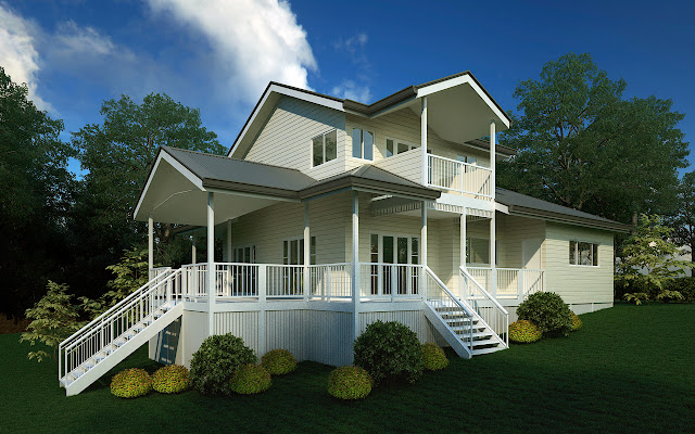 awesome white stained kit homes on large yard completed with white staircase