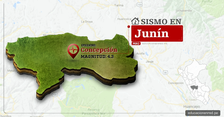 Temblor en Junín de 4.3 Grados (Hoy Martes 7 Marzo 2017) Sismo EPICENTRO Concepción - Andamarca - IGP - www.igp.gob.pe